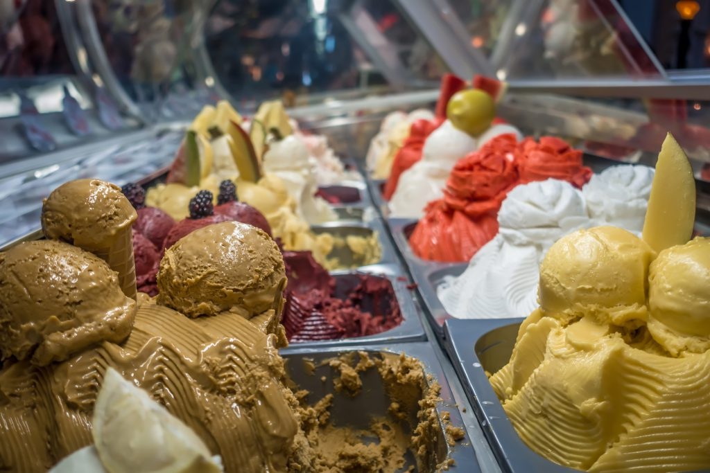 assorted custard on display in store