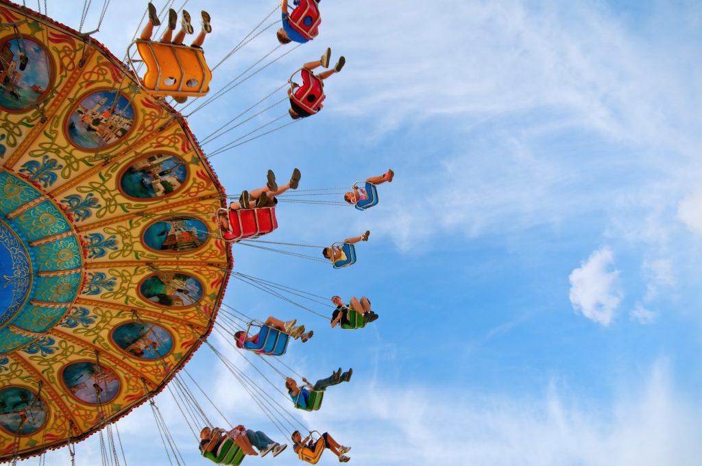 swings at an amusement park