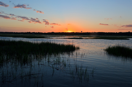 Sunset over the canal at Cherry Grove Beach in South Carolina