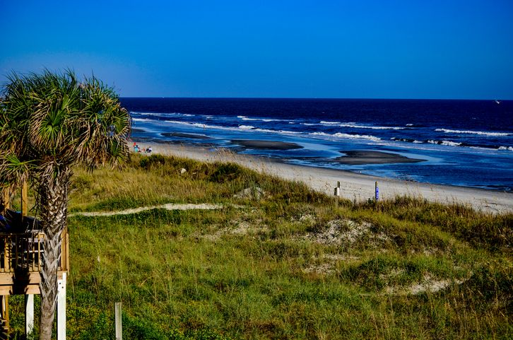 a view of the beach from one of our vacation rental properties in Crescent Beach SC